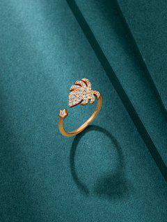 Anel De Folha De Diamante Artificial - Dourado
