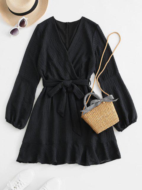 Gekräuseltes Langarm Kleid mit Gürtel - Schwarz M Mobile