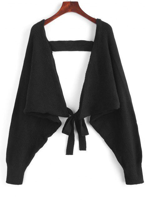 sale ZAFUL Batwing Sleeve Self Tie Cropped Cardigan - BLACK ONE SIZE Mobile