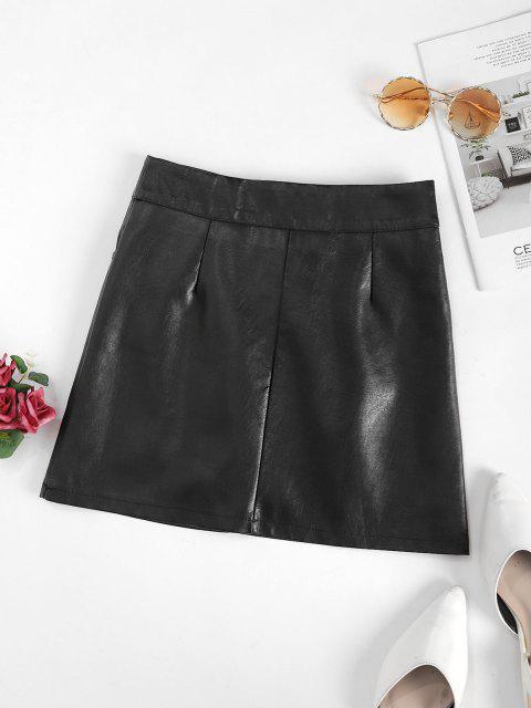 buy Studded Half Zip PU Leather Mini Skirt - BLACK XL Mobile