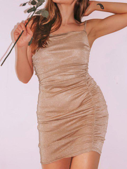 sale ZAFUL Glitter Ruched Slinky Bodycon Cami Dress - LIGHT COFFEE L Mobile