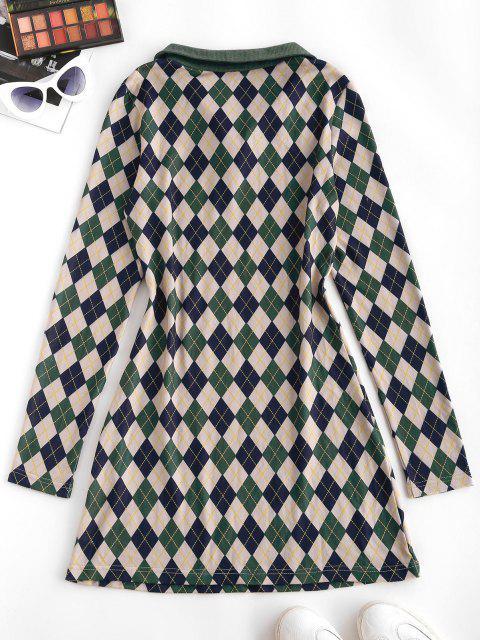 ladies ZAFUL Long Sleeve Button Front Jersey Argyle Dress - DEEP GREEN XL Mobile