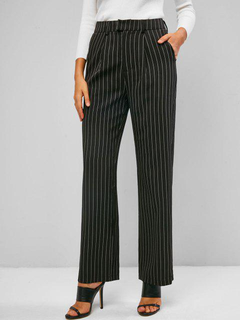 ladies ZAFUL Pinstriped Straight Pocket Tailored Pants - BLACK S Mobile