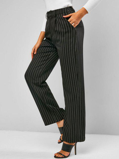 online ZAFUL Pinstriped Straight Pocket Tailored Pants - BLACK L Mobile