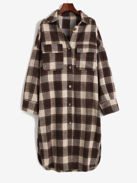 ZAFUL Flap Pockets Plaid Wool Blend Coat - قهوة M Mobile