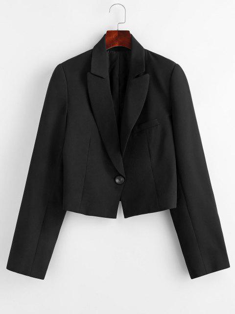 women's Padded Shoulder One Shoulder Lapel Blazer - BLACK L Mobile
