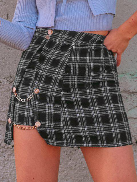 ladies Plaid Chain Button Embellish Mini Skirt - BLACK M Mobile