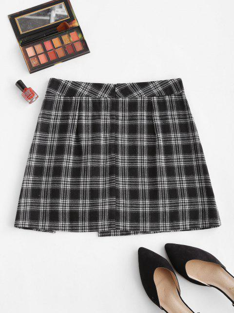 outfits Plaid Chain Button Embellish Mini Skirt - BLACK L Mobile