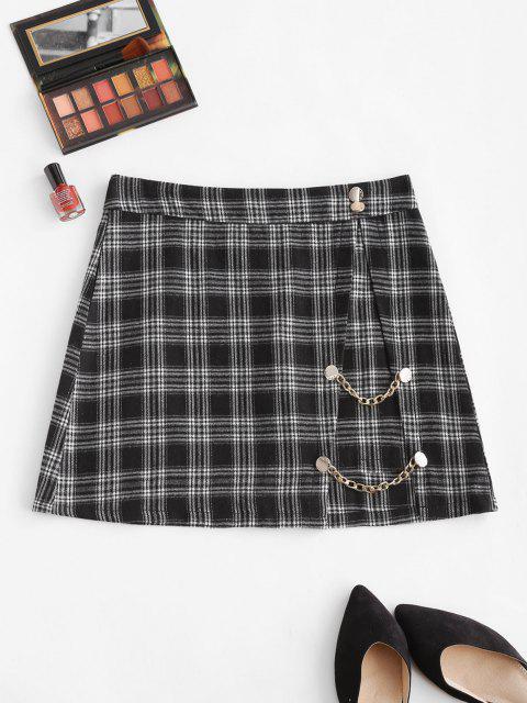 Mini Jupe à Carreaux Embellie de Bouton avec Chaîne - Noir XL Mobile