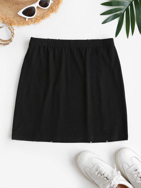 chic ZAFUL Mini Overlock Stitching Bodycon Skirt - BLACK S Mobile