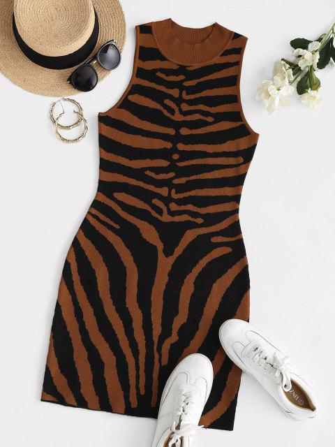 affordable Halloween Skeleton Mock Neck Knit Tank Dress - COFFEE M Mobile