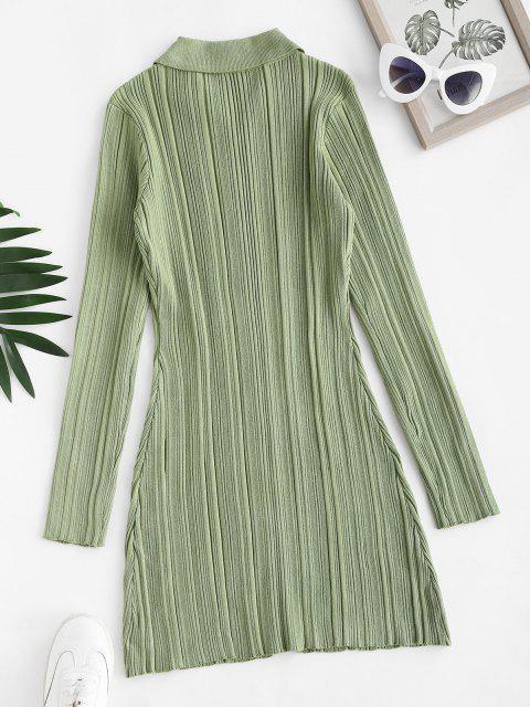 Bodycon Geripptes Pullover Kleid mit Knopfleiste - Grüne Zwiebel S Mobile