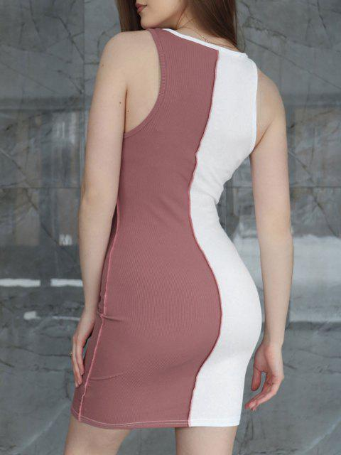 fancy Ribbed Mesh Insert Topstitching Diamante Detail Tank Dress - LIGHT PINK L Mobile