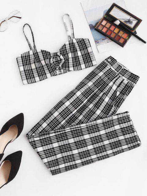 lady Plaid O Ring Smocked Straight Pants Set - BLACK S Mobile