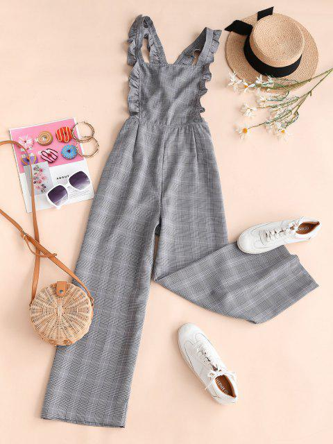 hot Plaid Cross Back Wide Leg Frilled Jumpsuit - LIGHT GRAY S Mobile
