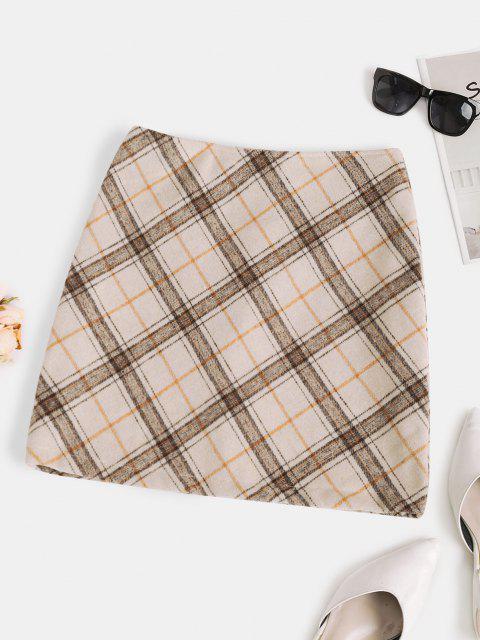 new Plaid Wool Blend Mini Skirt - LIGHT COFFEE S Mobile