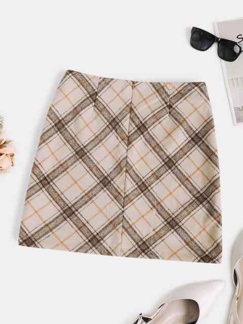 buy Plaid Wool Blend Mini Skirt - LIGHT COFFEE M Mobile