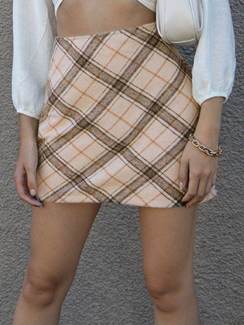 best Plaid Wool Blend Mini Skirt - LIGHT COFFEE L Mobile