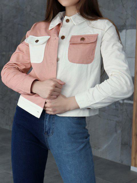 women ZAFUL Bicolor Pocket Button Up Jacket - MULTI-A S Mobile