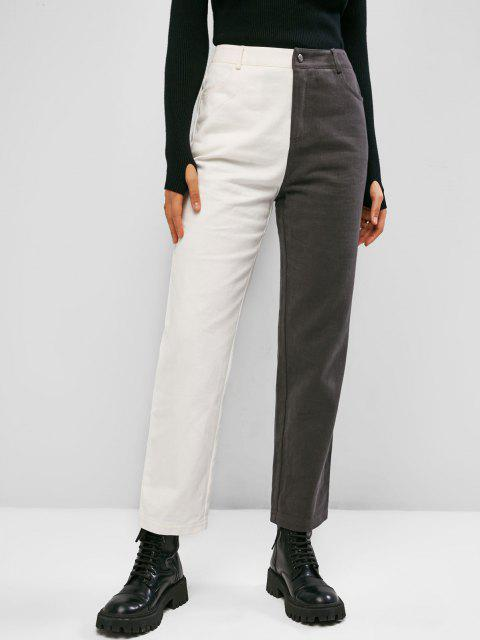 shops ZAFUL Bicolor Twill Straight Pants - MULTI-A M Mobile