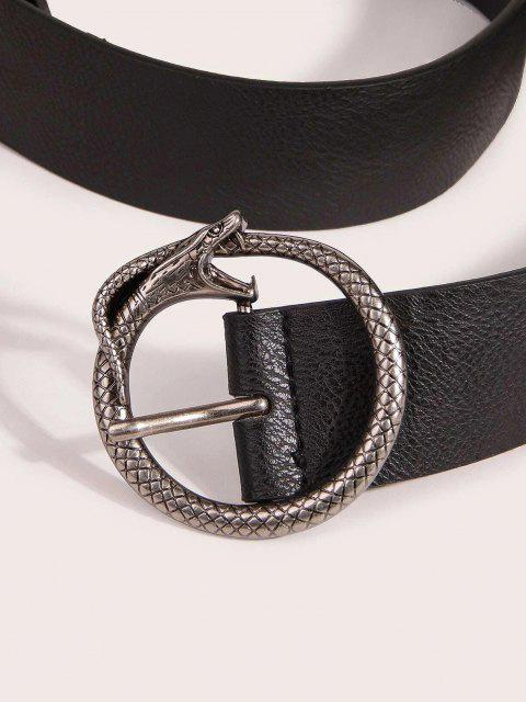 trendy Retro Carved Snake Buckle Belt - BLACK  Mobile