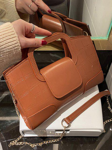 shop Embossed Cut Out Dual Handle Crossbody Bag - LIGHT BROWN  Mobile