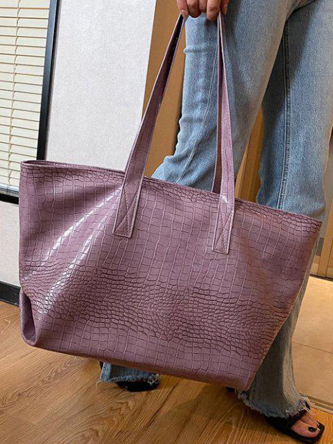 unique Minimalistic Large Capacity Embossed Tote Bag - LILAC  Mobile