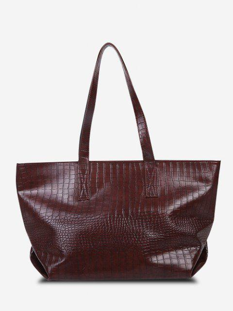 affordable Minimalistic Large Capacity Embossed Tote Bag - BROWN  Mobile