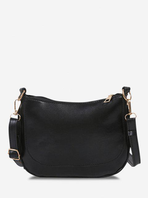 best Solid Top-Stitching Flat Crossbody Bag - BLACK  Mobile