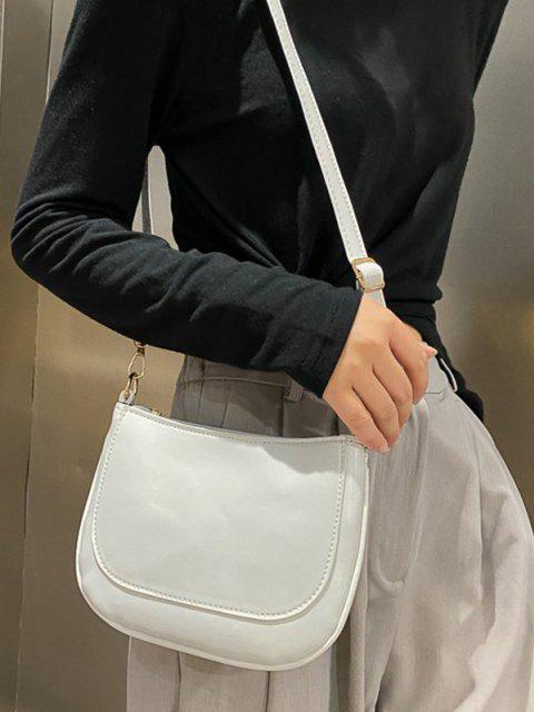 Sac à Bandoulière Cousu Plat en Couleur Unie - Blanc de Crème   Mobile