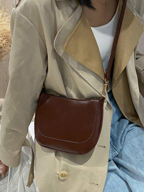 hot Solid Top-Stitching Flat Crossbody Bag - DEEP BROWN  Mobile