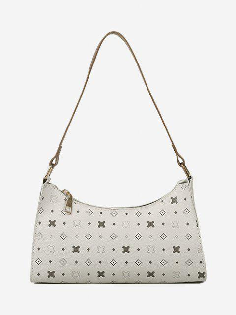 outfit All-Over Printed Textured Shoulder Bag - WARM WHITE  Mobile