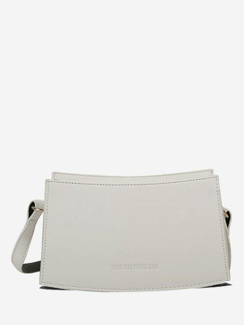 fashion Curved Rectangle Top-Stitching Shoulder Bag - CRYSTAL CREAM  Mobile