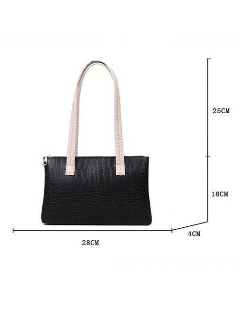 sale Embossed Double Handle Large Shoulder Bag - BLACK  Mobile