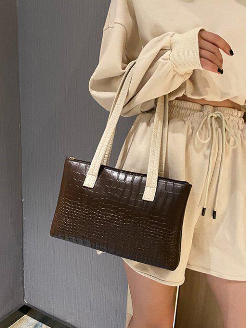womens Embossed Double Handle Large Shoulder Bag - DEEP BROWN  Mobile