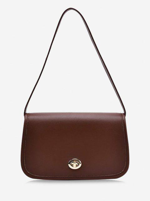 women's Flap Twist-Lock Topstitching Shoulder Bag - DEEP BROWN  Mobile