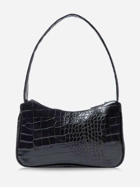 lady Solid Embossed Wide Strap Shoulder Bag - BLACK  Mobile