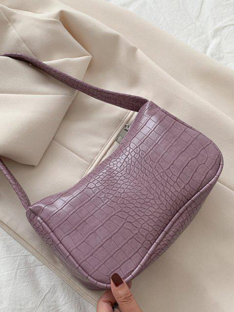 Sac à Bandoulière Large Gaufré en Couleur Unie - Lilas  Mobile