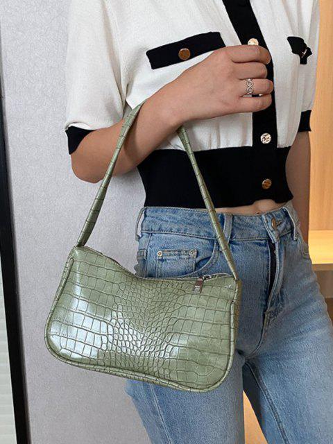Sac à Bandoulière Large Gaufré en Couleur Unie - Vert clair  Mobile