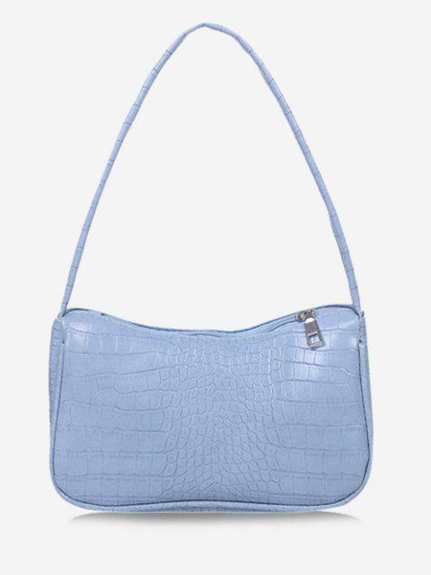 hot Solid Embossed Wide Strap Shoulder Bag - DAY SKY BLUE  Mobile