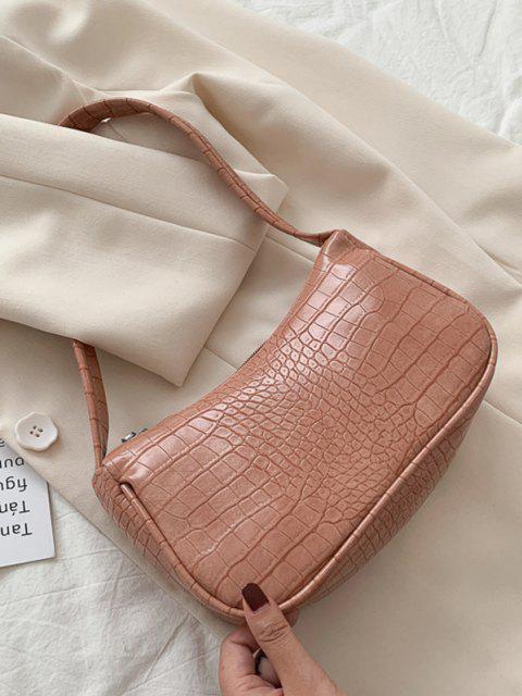 outfit Solid Embossed Wide Strap Shoulder Bag - PINK ROSE  Mobile