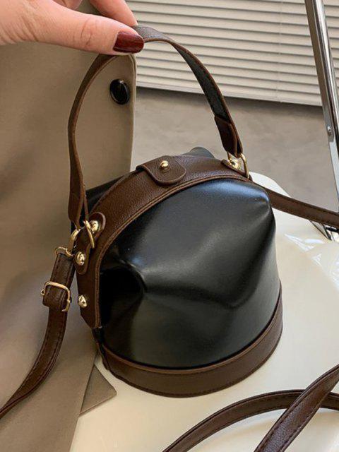 sale Color Contrast Dual Strap Top Snap Bucket Bag - BLACK  Mobile