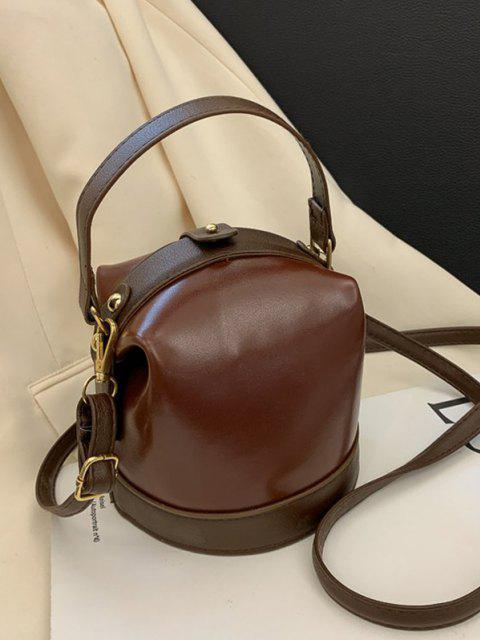 affordable Color Contrast Dual Strap Top Snap Bucket Bag - BROWN  Mobile