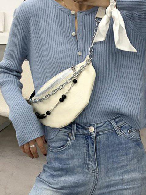 Double Chain Beaded Sling Bum Bag - الأبيض الدافئ  Mobile