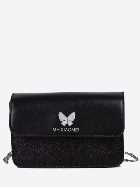 Mini Sac à Bandoulière Papillon à Rabat à Paillettes - Noir  Mobile