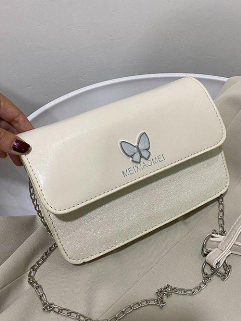 women's Butterfly Glitter Flap Mini Crossbody Bag - CRYSTAL CREAM  Mobile