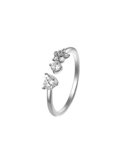 Blume Zirkon Eingelegter Offener Ring - Silber  Mobile