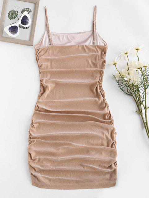 fashion ZAFUL Glitter Ruched Slinky Bodycon Cami Dress - LIGHT COFFEE S Mobile