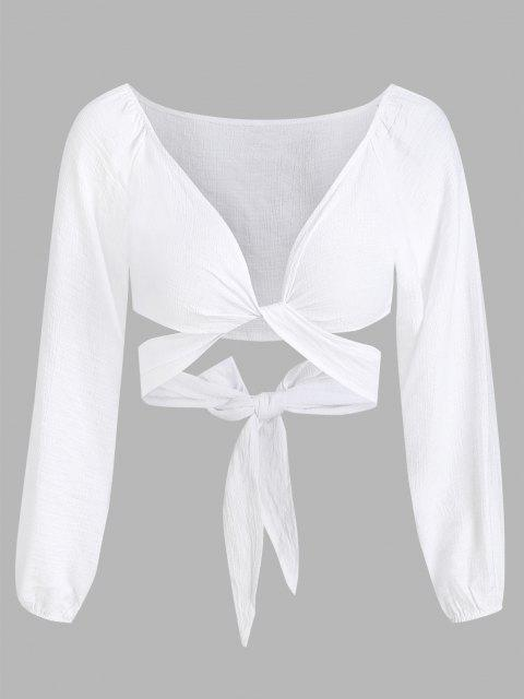 shops Cropped Twist Tie-around Blouse - WHITE L Mobile
