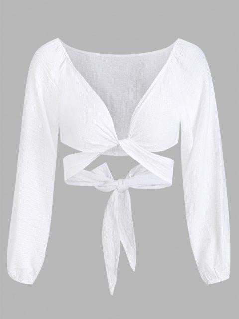unique Cropped Twist Tie-around Blouse - WHITE XL Mobile